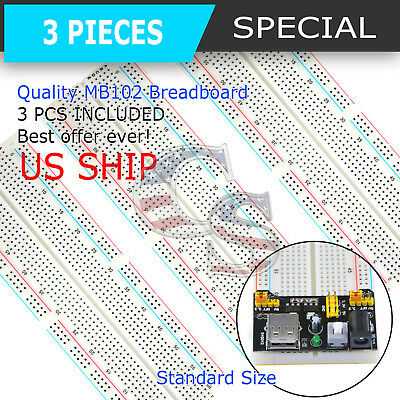 3X MB-102 830 Point Prototype PCB Solderless Breadboard Protoboard