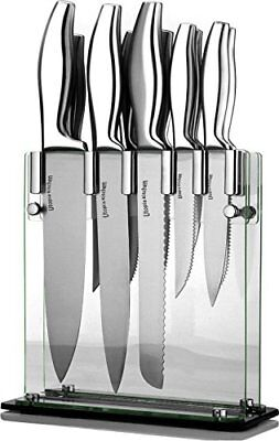 Knife Set 12 Pieces with Acrylic Stand Tempered Glass Block By Utopia Kitchen