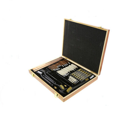 63 Piece Wooden Gun Cleaning Kit Brush Set Pistols Pistol Rifle Full Clean Tool
