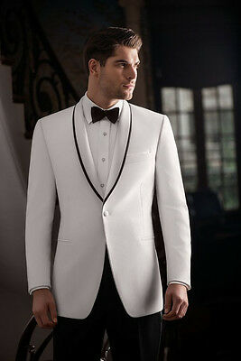 New White Jacket Black Pants Mens Wedding Suits Groom Tuxedo Formal Party Suits