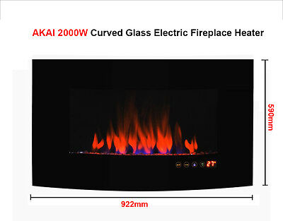 AKAI 2000W Curved Glass Electric Fireplace Flame Effect Heater with Remote