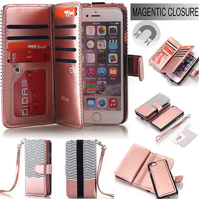 iPhone 6 6s 7 Plus Luxury Magnetic Leather Removable Wallet Flip Card Case Cover