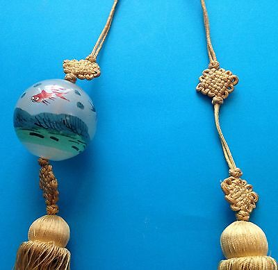 Vintage Chinese lucky knot/ball, glass with silk tassel, painted Ocean/fish