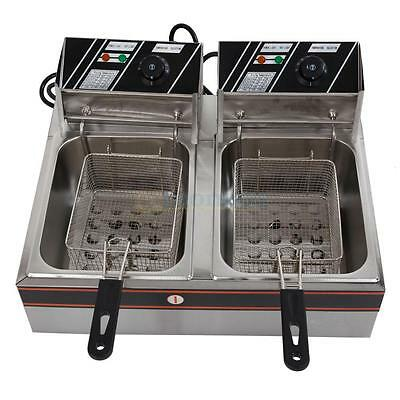 12L Electric Countertop Deep Fryer Commercial Basket French Fry Restaurant 5000W