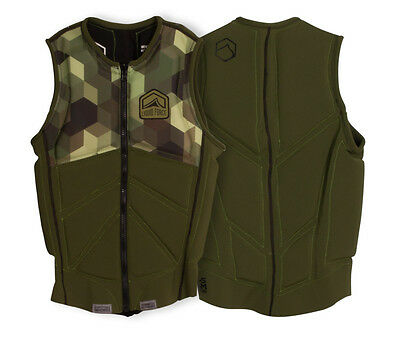 2017 Liquid Force Z Cardigan Zip Wakeboard Impact Vest, S - XL, Army Green 61347