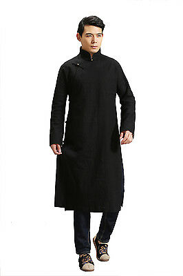 Mens Chinese Style Martial Arts Pure Hemp Linen Long Gown Tang Suit Kungfu Coat