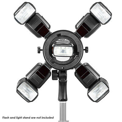 Outdoor Flash Bracket with Four Speedlite Cold Shoe Mount Adapter