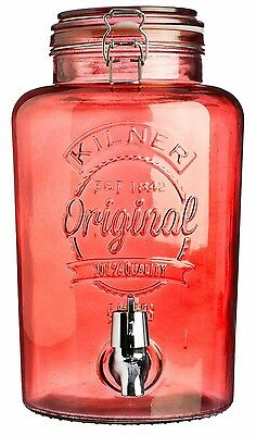 Kilner 5 Litre Clip Top Drink Dispenser Red