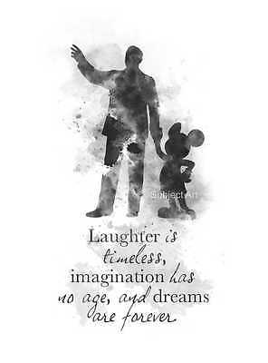 ART PRINT Walt Disney Mickey Mouse Quote illustration, Disney, Wall Art, B & W