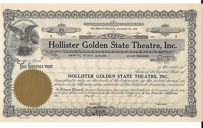 Hollister Golden State Theatre Inc.....unissued Stock Certificate