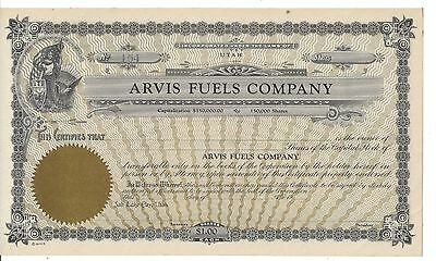 Arvis Fuels Company (Utah)...........unissued Stock Certificate