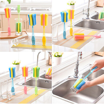 Sponge Baby Milk Feeding Bottle Brush Nipple Cleaning Scrubber Washing Brushes