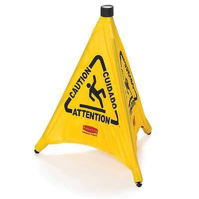 Rubbermaid Caution Wet Floor Sign - Yellow Safety Pop Up Cone -Multilingual 76cm