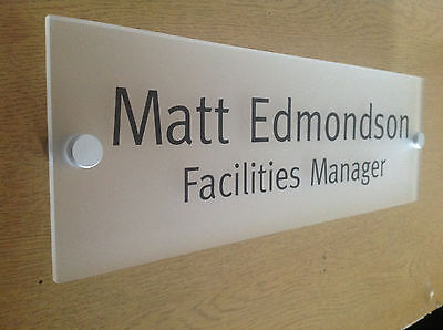 Office Door Sign/Plaque - 250 x 75mm - Frosted Acrylic + Stand Off Fittings