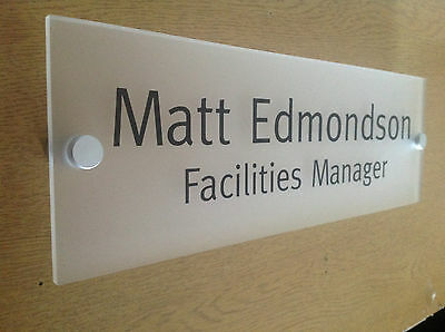 Office Door Sign / Plaque - Frosted Acrylic - 250 x 75mm + Stand Off Fittings