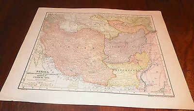 1910 Persia Afghanistan Baluchistan & Parts of Central Asia Map Dodd Mead &Co.