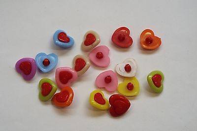 10pc 15mm Mixed Colour Heart Shaped Cardigan Knitwear Kid Baby Button 1050