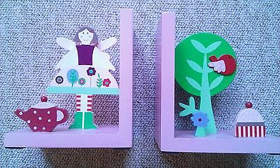 Vintage Gisela Graham Pink FAIRY TEA PARTY Children's Bookends