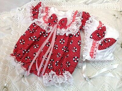 Hannahs Boutique 0-3 Month Baby Romper/bubble & Bonnet Set Or Reborn 20-24""