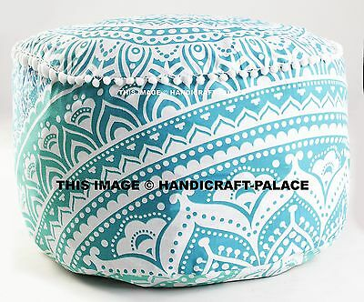 Indian Green Ombre Mandala Ottoman Pouf , Indian Living Room Pouf, Foot Stool,