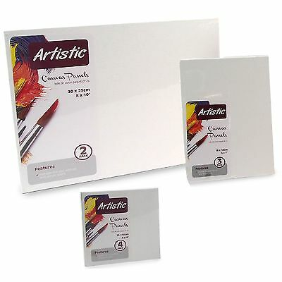 "4x4"" - 5x7"" - 8x10"" - Primed Blank Artist Cotton Canvas Board Oil Acrylic Paint"