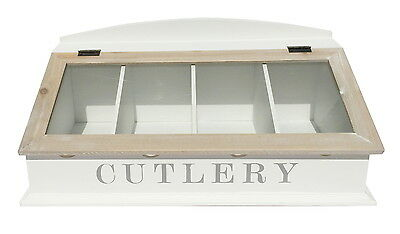 Two Tone Shabby Chic Wooden Cutlery Box Knife Fork Knives Storage Tray Holder