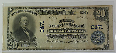 1902 Plain Back $20 National Banknote Hoosick Falls NY Charter # 2471 *2 KNOWN*