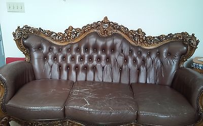 Antique sculptured cherub sofa and chairs, rare