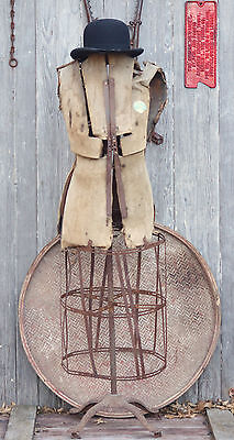 Antique 19th Century to 1920's Dress Form with Steel Skirt, Rustic Look!