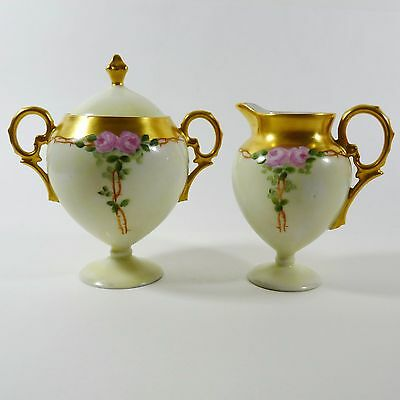 RS Germany Creamer and Sugar Bowl with Lid Gold Fine Antique Collectible