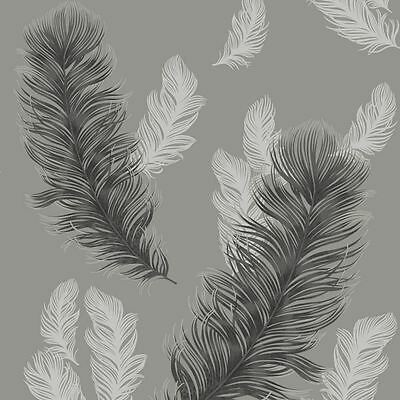 Arthouse Precious Metals Sirius Feathers Wallpaper - Gunmetal Grey Silver 673602