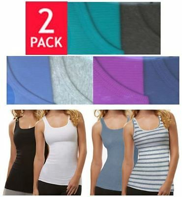 Felina Ladies' Fine Ribbed Knit TANK TOPS 2-Pack, Choose Color & Size S-XL