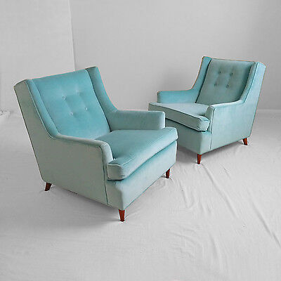 2 newly restored MID CENTURY modern aqua blue velvet club CHAIRS mod atomic vtg