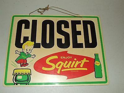 "Rare 1962 SQUIRT Soda 2 Sided General Store Open/Closed ""Enjoy Squirt"" Door Sign"