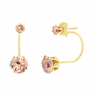 Gold-Tone Stainless Steel Champagne CZ Front to Back Earrings