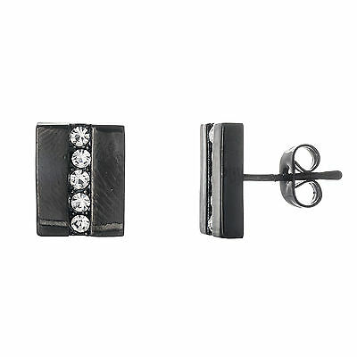 Stainless Steel Black IP Rectangle with Crystal Row Earrings