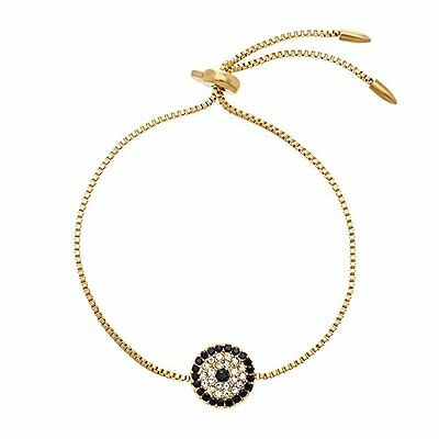 Gold Tone Stainless Steel Cubic Zirconia Evil Eye Adjustable Slider Bracelet