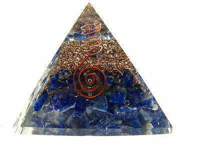 Lapis Lazuli Orgone Pyramid LG Quartz Point EMF Protection Crystal Healing