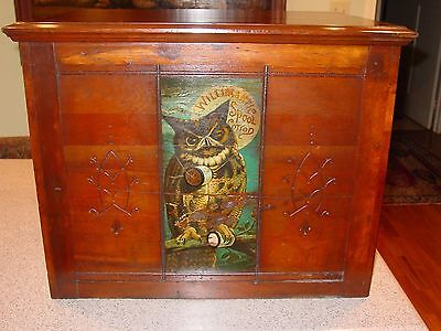 6 drawer Willimantic spool thread cabinet with owl and raised panels-----15260