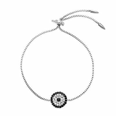 Stainless Steel Cubic Zirconia Evil Eye Adjustable Slider Bracelet