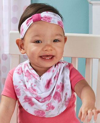 (Set of 2) Baby Girls Matching Headbands Bib Scarf Snap Close Washable Gift