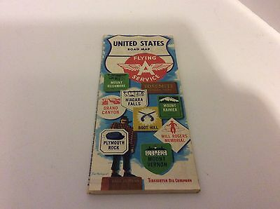 1960 Flying A Service  United States Road Map Transportation