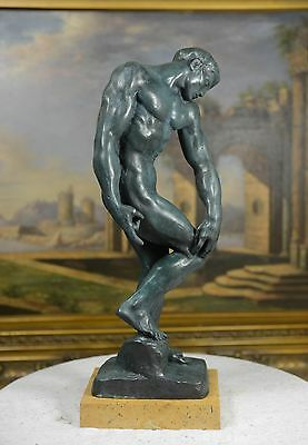 "17.75""H Bronze Nude Male statue ""Adam"" bronze sculpture"