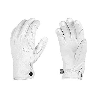 CandyGrind Leather Freestyle Snowboard Gloves Cold Weather Ski White Blue Grey