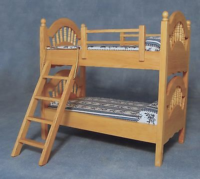 1:12 Scale Pine Bunk Bed With A Blue & White Patterned Mattress Dolls House 886
