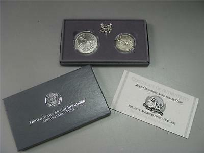 1991 Mt. Rushmore Uncirculated Silver Dollar & Half Coin Set US Mint