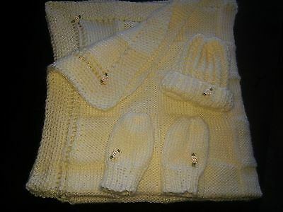 hand-knitted beautiful baby blanket and hat+mittens( softee baby cream)