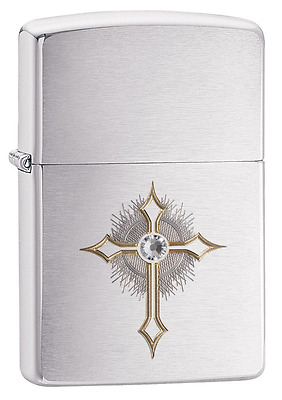 Zippo Cross with Swarovski Crystal Windproof Lighter - Brushed Chrome