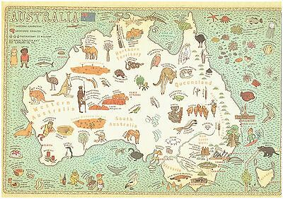 Cartoon Pictograph Cartograph Map of Australia Detailed facts about region