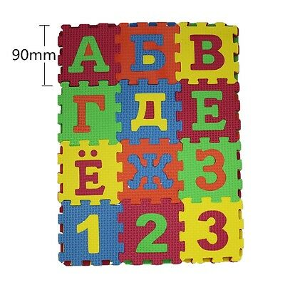 36Pcs Russian Letters Numbers Floor Soft EVA Foam Baby Play Mat Tiles ~3.5""